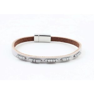 "Bracelet leather "" Aster "" grey"