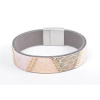 "Armband leer ""Kamila"" roze"