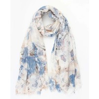 "Scarf ""Cloudy flower"" white"