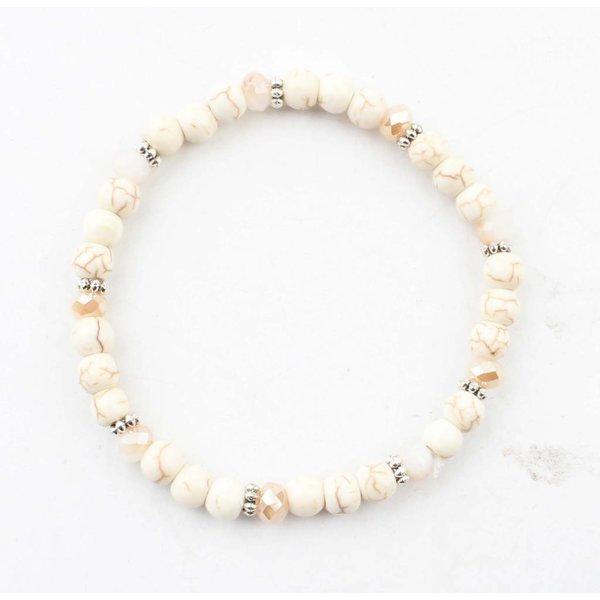 Armband natuursteen balletjes wit
