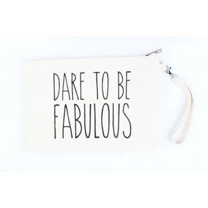 "Toilet bag ""Dare to be"" off white"