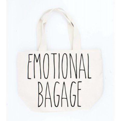 """Wide shopper """"Emotional baggage"""" off white"""