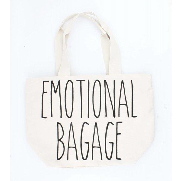 """Shopper """"Emotional bagage"""" creme wit"""