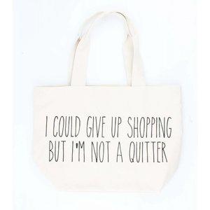 """Breite Shopper """"I am not a quitter"""" weiß"""