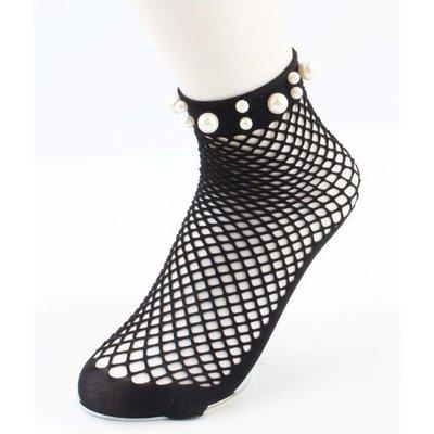"""Socken """"Fischnetz & Perlen"""" schwarz"""