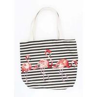 """Shopper/Strandtas """" Striped flamingo""""zwart"""