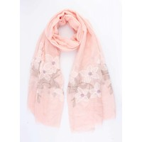 "Scarf ""Embroidered flower"" pink"