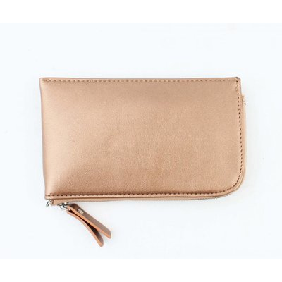 "Clutch ""Zipper"" metallic brown"