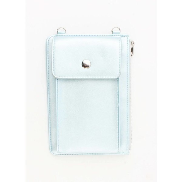 "Crossbody/clutch ""Shiny"" metallic blauw"