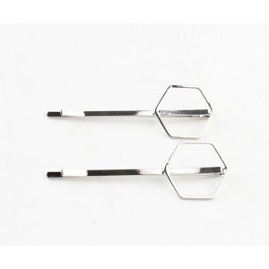 "Hair sliders ""Hexagon"" silver, per 2 pairs"