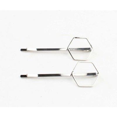 """Haarschuifjes """"Hexagon"""" zilver, per 2 paar"""