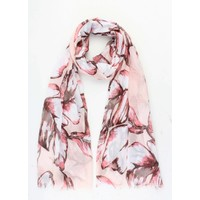 """Scarf """"Colored leaves"""" pink"""