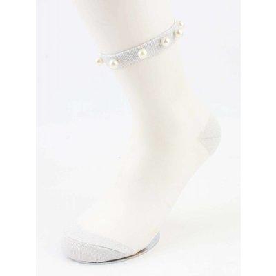 "Socks ""Mesh & Pearls"" grey, per 2 pairs"