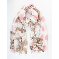 """Scarf """"Dots & Flowers"""" pink"""