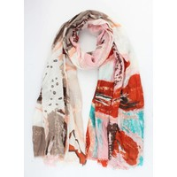 "Scarf ""Flower art"" pink"