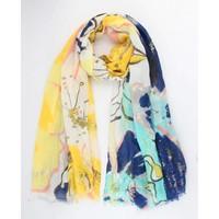 """Sjaal """"Flower art"""" geel"""