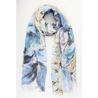 """Schal """"Blätter & Blumen"""" blau"""
