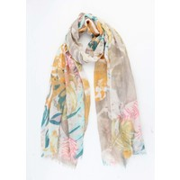 "Scarf ""Leaves & Flowers"" yellow ochre"