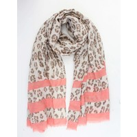 """Scarf """"Leopard & Stripes"""" taupe"""