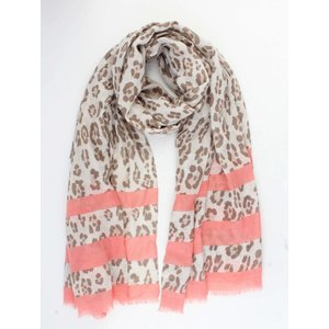 """Sjaal """"Leopard & Stripes"""" taupe"""