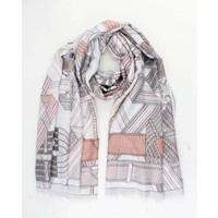 "Scarf ""Graphic lines"" grey"