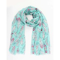 """Scarf """"Happy feathers"""" Mint green"""