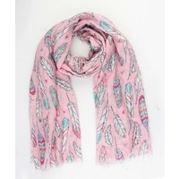 """Scarf """"Happy feathers"""" pink"""