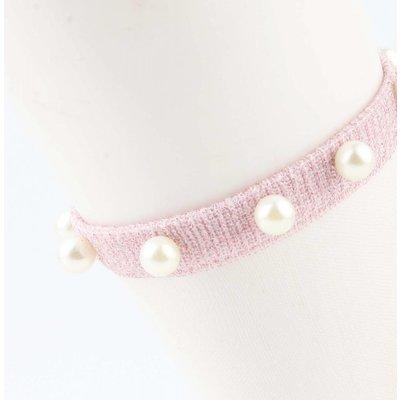 "Sokken ""Mesh & Pearls"" roze, per 2 paar"