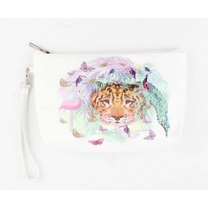 """Toilette Tasche """"Schmetterling & Flamingo"""" weiß"""