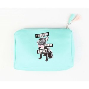 "Make-up tas ""You're lovely"" aqua"