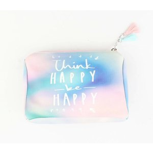 """Cosmetic bag """"Think happy"""" pink"""
