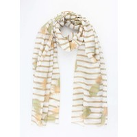 """Scarf """"Stripes & Pineapples"""" taupe"""