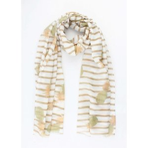 """Sjaal """"Stripes & Pineapples"""" taupe"""