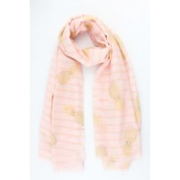 "Scarf ""Stripes & Pineapples"" pink"