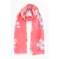 """Scarf """"Spring flowers"""" red"""
