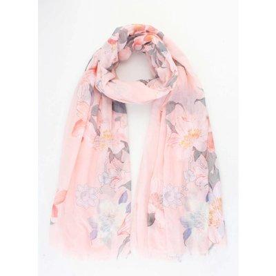 "Scarf ""Spring flowers"" pink"
