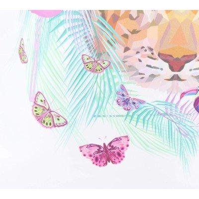"""Rucksack """"Schmetterling & Flamingo"""" weiß"""