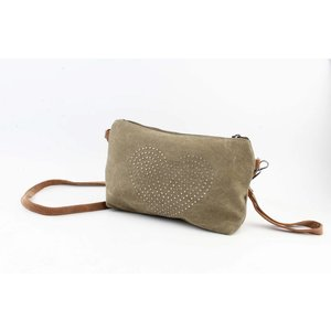 "Crossbody/Clutch ""Heart"" kakhi green"