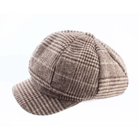 """Newsboy cap """"Pied de Poule"""" brown"""