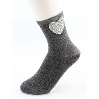 "Socks ""Heart"" black/silver"