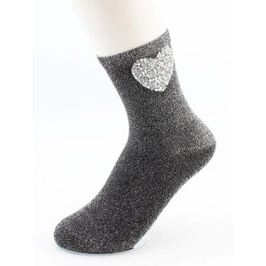"""Sokken """"Hart"""" zwart/zilver"""