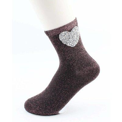 """Socks """"Heart"""" black/red"""