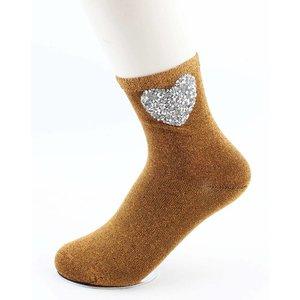 """Socken """"Herz"""" ockergelb"""
