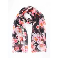 "Scarf ""Pink flowers"" anthracite"