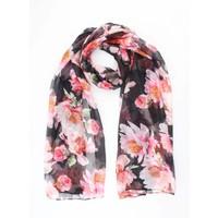 """Sjaal """"Roze bloemen"""" antraciet"""