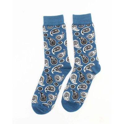 """Herensokken """"Paisley"""" blauw"""