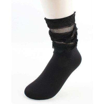 "Sokken ""Ruffle"" zwart, per 2 paar"