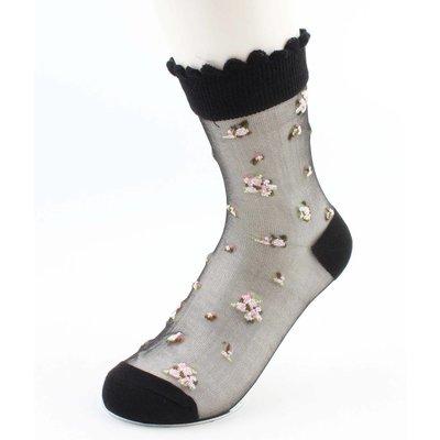 """Socken """"Blumen"""" schwarz"""