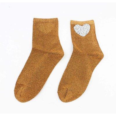"Socks ""Heart"" yellow ochre"