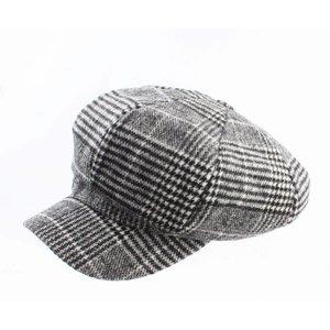 """Newsboy cap """"Pied de Poule"""" black"""